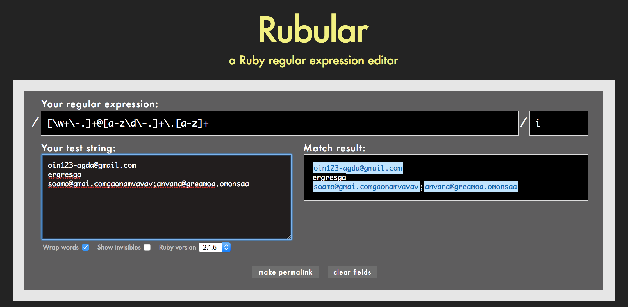 rails tutorial 正規表現 rubular